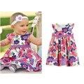 Бесплатная доставка Jacadi девочка летом хлопок детская одежда печати небольшая бабочка рукав цельный платье