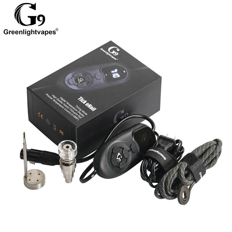 Régulateur de température portatif d'enail g9 de tique de vaporisateur de plate-forme de Dab d'huile pour le concentré de cire Kit de démarreur d'huile de Vape tuyau d'eau en verre 0C