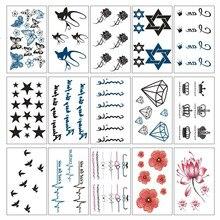 15 Pcs/Set Temporary Tattoo Body Art Crown Bird Letter Fake Tattoo Sticker Lot Colorful Waterproof Transfer Tattoos