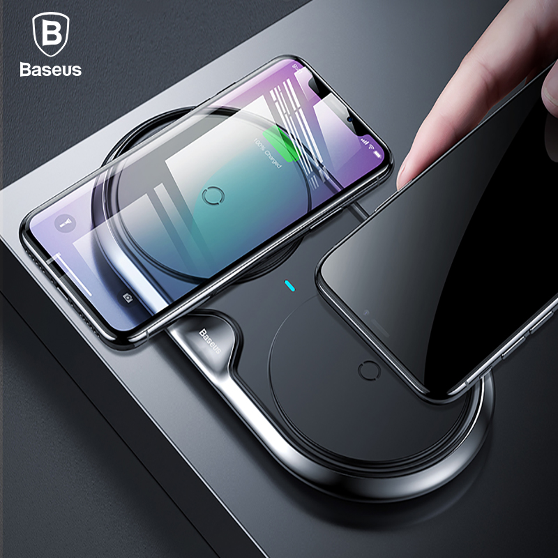 Baseus 10 Вт двойной QI Беспроводной Зарядное устройство для iPhone X 8 10 samsung S9 S8 S7 быстрой зарядки Беспроводной Зарядное устройство 2 в 1 Desktop зарядны...