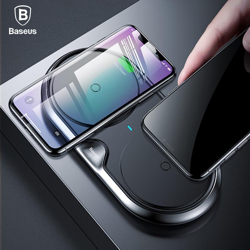 Baseus 10 W Double QI Sans Fil Chargeur Pour iPhone X 8 10 Samsung S9 S8 S7 Rapide De Charge Sans Fil Chargeur 2 en 1 Chargeur De Bureau Pad