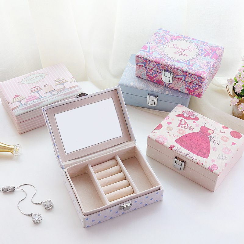 EIOLZJ Creative Jewelry Box Portable Travel Jewellery Box For Women Ring Earrings Lipstick Storage Box With Lock Four Color eiolzj голубое небо 8