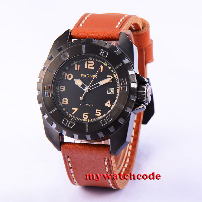 45mm parnis black dial PVD case 21 Jewels miyota automatic mens watch P639 japan miyota 40mm pvd case parnis men s watch