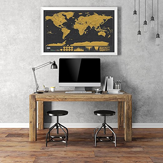 New 1 piece black deluxe travel map travel tracker poster world new 1 piece black deluxe travel map travel tracker poster world map travelogue globe map gift for travelers in wall stickers from home garden on gumiabroncs Choice Image