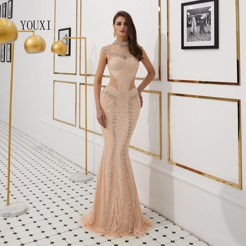 Sexy pure col haut robes de soirée formelles 2019 perles cristal sans manches robes de soirée Dubai Robe de sirène Robe de soirée