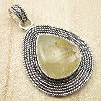 1 9 Pendant GOLDEN RUTILE Quartzs DESIGNER Silver Plated Jewelry NEW