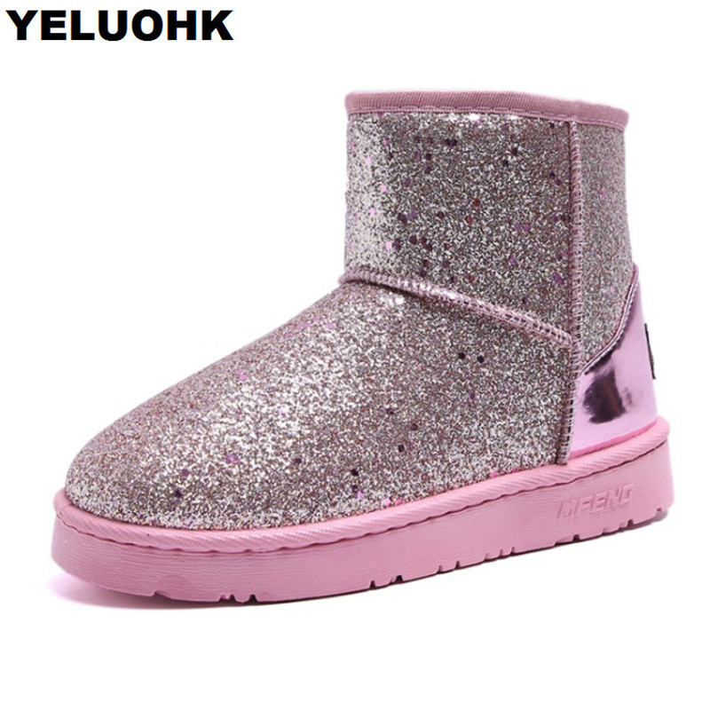 2018 New Winter Boots Women Ankle Boots Glitter Warm Snow Boots Platform  Shoes Woman Comfortable Booties Female Winter-in Ankle Boots from Shoes on  ... 6eedb333a92d