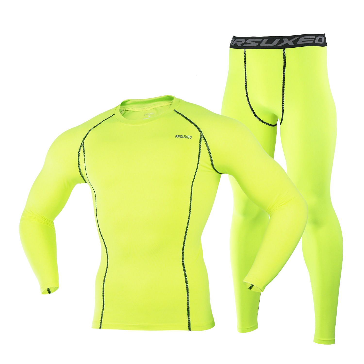 Image 3 - ARSUXEO Mens Compression Set for Running Jogging Sports Gym Fitness Tights Workout Crossfit Suits Long Shirt and Leggings Pants-in Running Sets from Sports & Entertainment on AliExpress