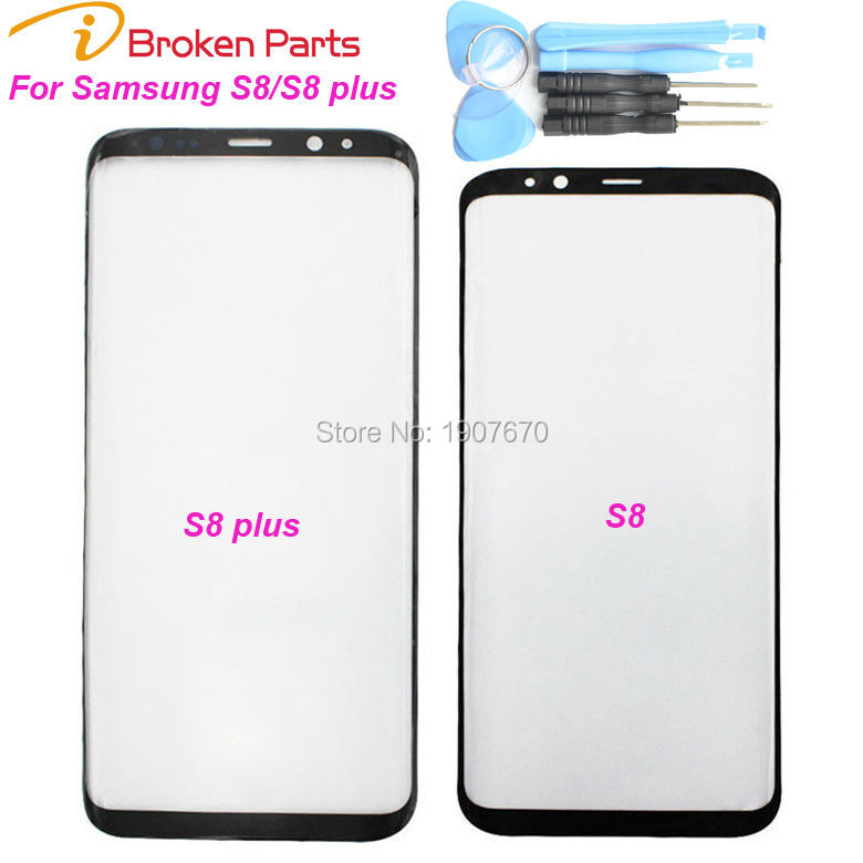 New Black Original S8 plus Replacement Front Outer Screen