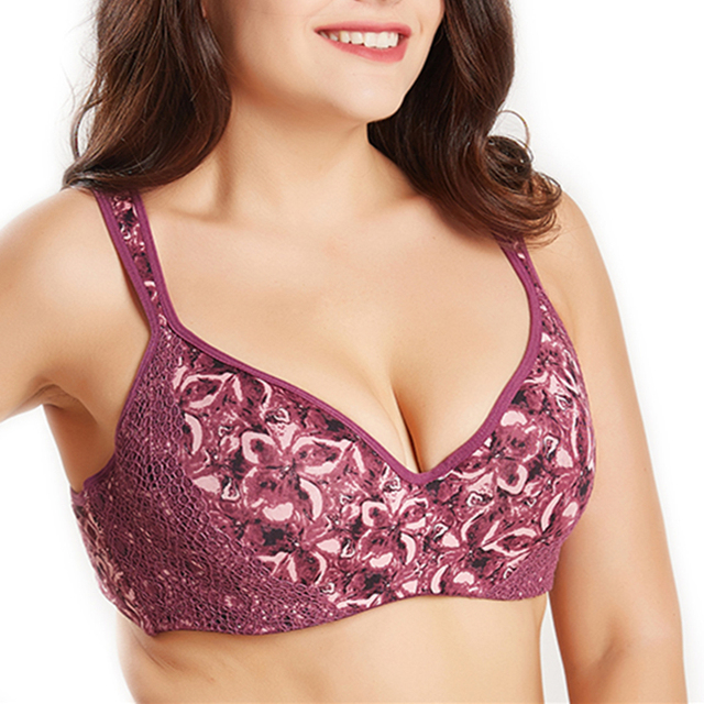 f78ad74fef0 Women s Bra Plus Size Female Lingerie T-Shirt Cup Full Figure Micro Bra  Lace Hidden Underwire And Cushion Strap Bralette pj6018