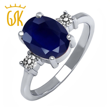 GemStoneKing 2.63 Ct Oval Blue Sapphire White Diamond 925 Sterling Silver Classic Engagement Rings For Ladies