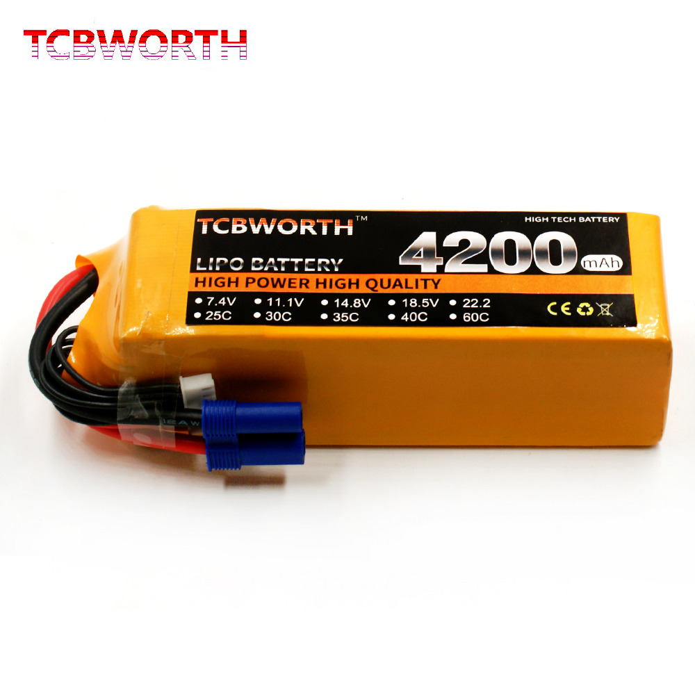 RC Quadrotor LiPo battery 6S 22.2V 4200mAh 25C  For RC Helicopter Drone Airplane Car Boat Li-ion battery tcb rc lipo battery 18 5v 10000mah 25c 5s for rc airplane drone quadrotor helicopter car boat li ion batteria akku