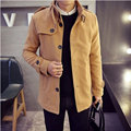 2016 Chaqueta nuevo código masculino Maduro en el invierno de los hombres abrigo largo abrigo de lana gris negro de Color Caqui gris Azul Marino WL-094