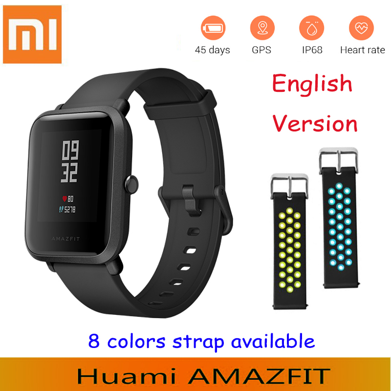 English Version Xiaomi Smart Watch amazfit Bip GPS Tacker Heart Rate monitor IP68 Waterproof watch Xiaomi watch For Android IOS original amazfit bip youth edition smart watch gps glonass bluetooth 4 0 heart rate monitor ip68 waterproof android 4 4 ios 8