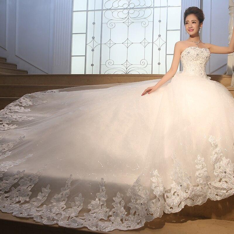 Aliexpress Buy 2015 Luxury Rhinestone Princess Tube Top Bandage Wedding Dress Gown Plus Size Vestido De Noiva TW1 From Reliable