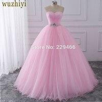 Wuzhiyi Пышное Платье 2018 розовый бальное платье vestidos de festa longo 15 anos сладкий 16 платье дебютантки платья платье для роста