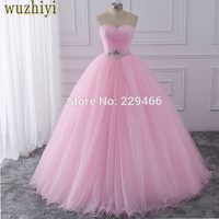 wuzhiyi Pink Ball Gown Quinceanera Dresses 2017 Beaded vestidos de 15 anos Sweet 16 Dresses Debutante Gowns Dress For 15 Years