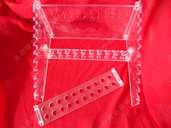 Plexiglass ladder shaped straw frame,  removable plexiglass ladder pipette support,20 hole pipette support, straw placing rack