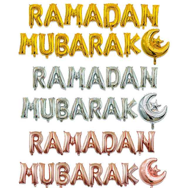 15pcs/set Gold Silver RAMADAN MUBARAK Foil Letter Balloons for Muslim Islamic Party Decor Eid al firt Ramadan Party Balls Supply