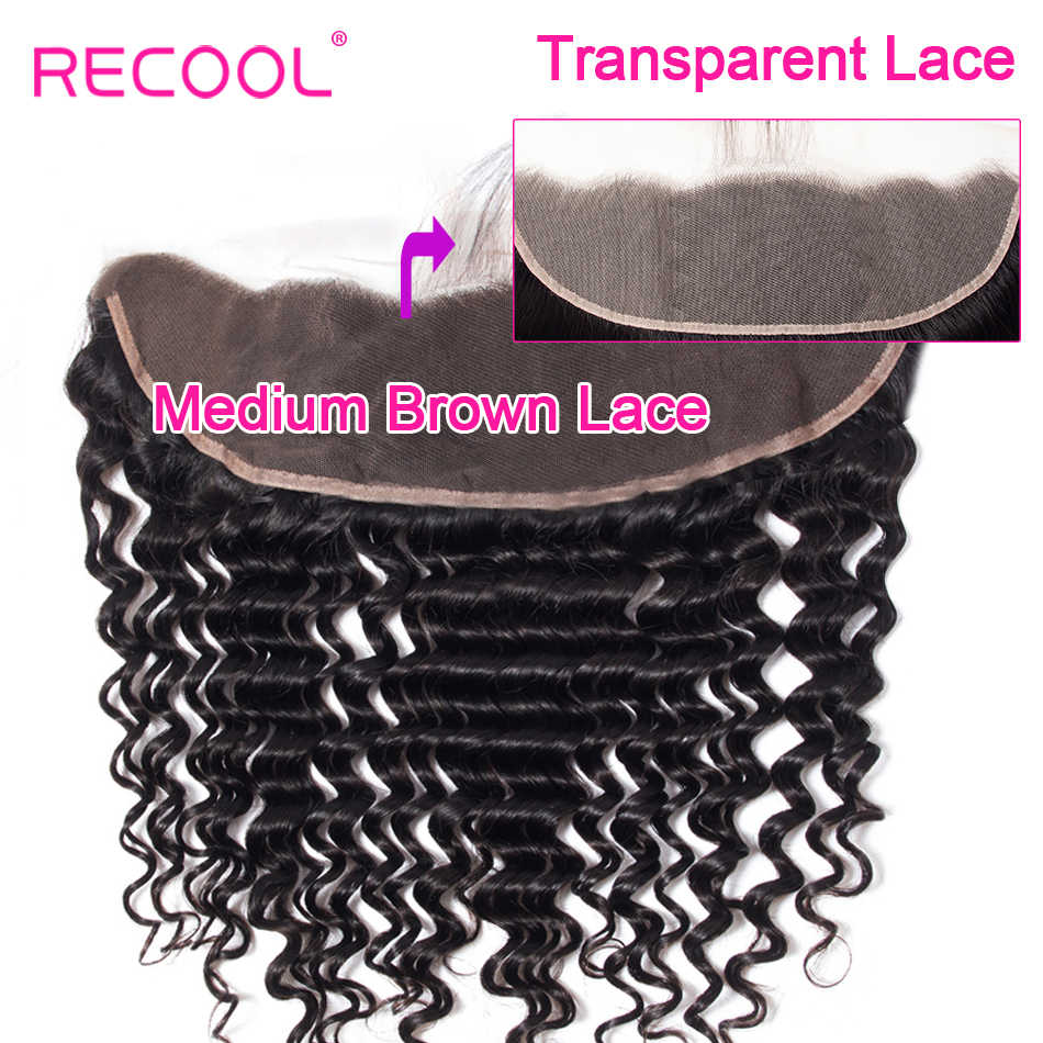 Recool Brazilian Deep Wave HD Transparent Lace Frontal Closure With Baby Hair 10-20 Inch Swiss Lace Remy Human Hair Lace Frontal