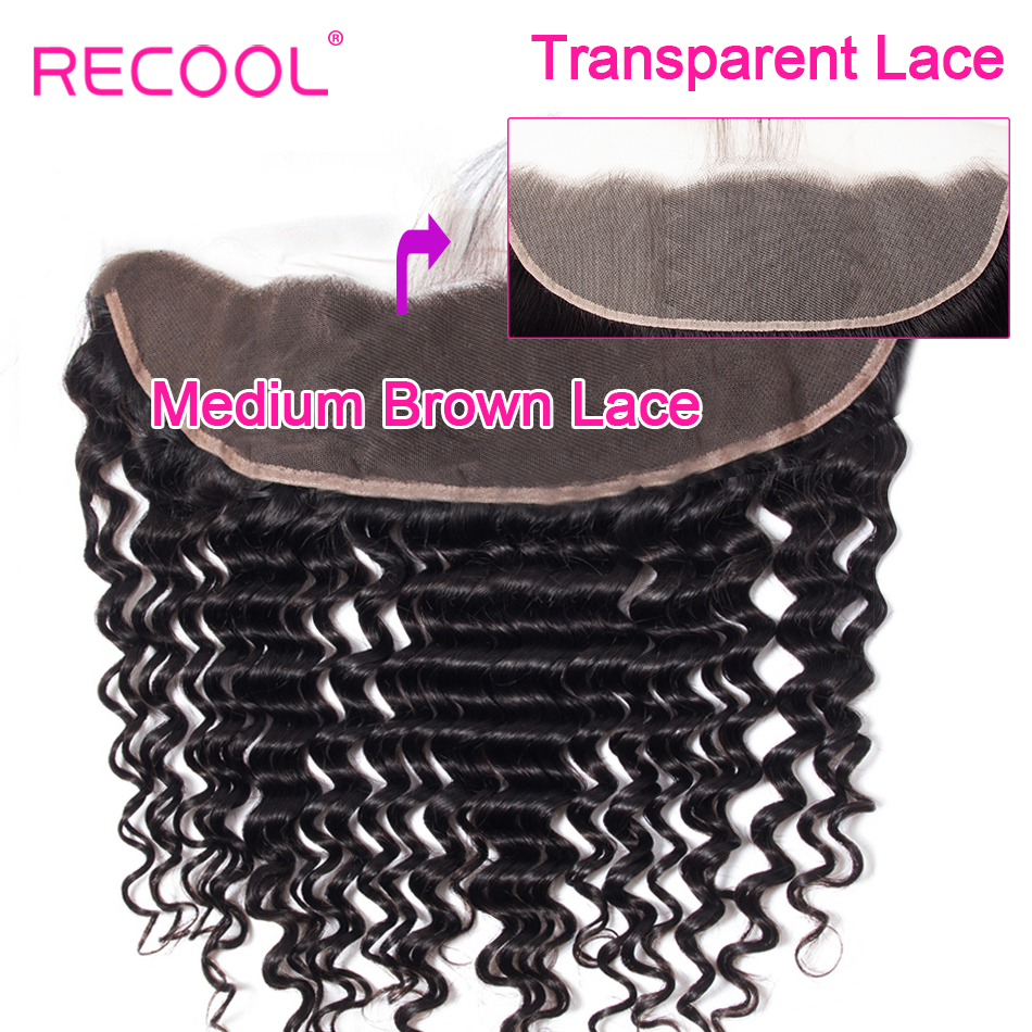 Recool Brazilian Deep Wave HD Transparent Lace Frontal Closure With Baby Hair 10 20 Inch Swiss Lace Remy Human Hair Lace Frontal-in Closures from Hair Extensions & Wigs    1