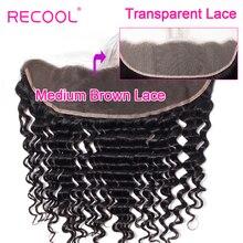 Recool ברזילאי עמוק גל HD שקוף תחרה פרונטאלית סגר עם תינוק שיער 10 20 אינץ שוויצרי תחרה רמי שיער טבעי תחרה פרונטאלית