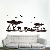 Saturday Mall DIY Wall Sticker Home Decor Safari Elephant Animal Decals Quotes Living Room Sofa