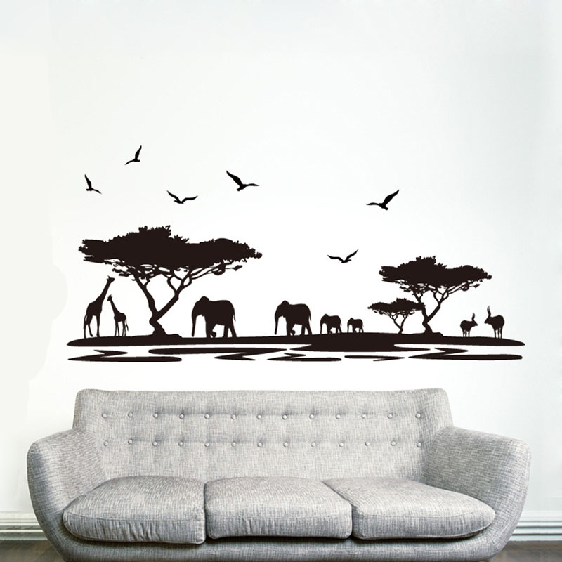 [La Fundecor] DIY negro elefante safari animal pegatinas de pared para niños hab