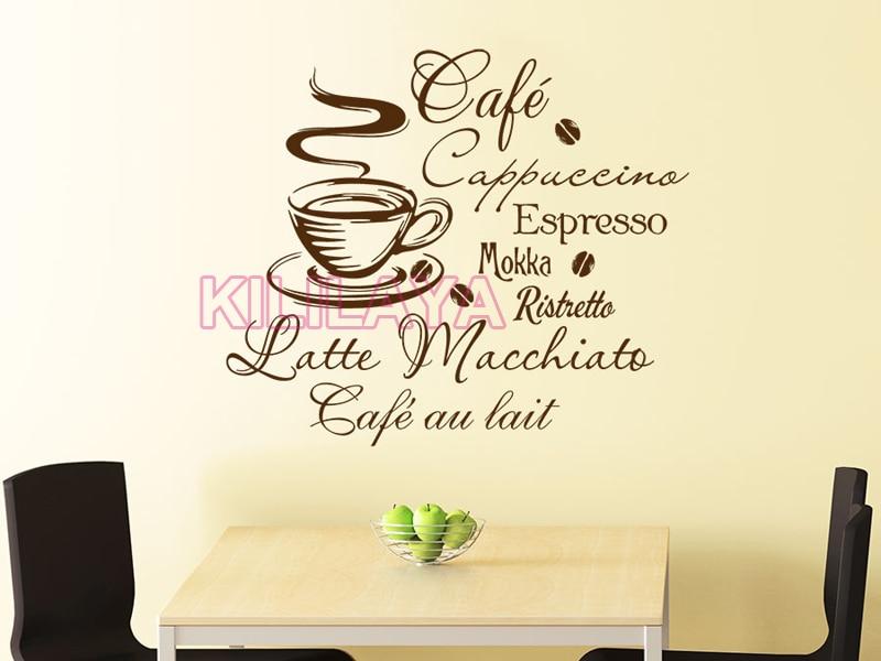 Café Cuisine Vinyle Stickers Muraux Cuisine Café amovible Papier ...