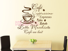 Coffee Kitchen Vinyl Wall Stickers Kitchen Coffee Shop removable Wall Mural Decals Home Decor House Decoration Wall Art 52x55cm