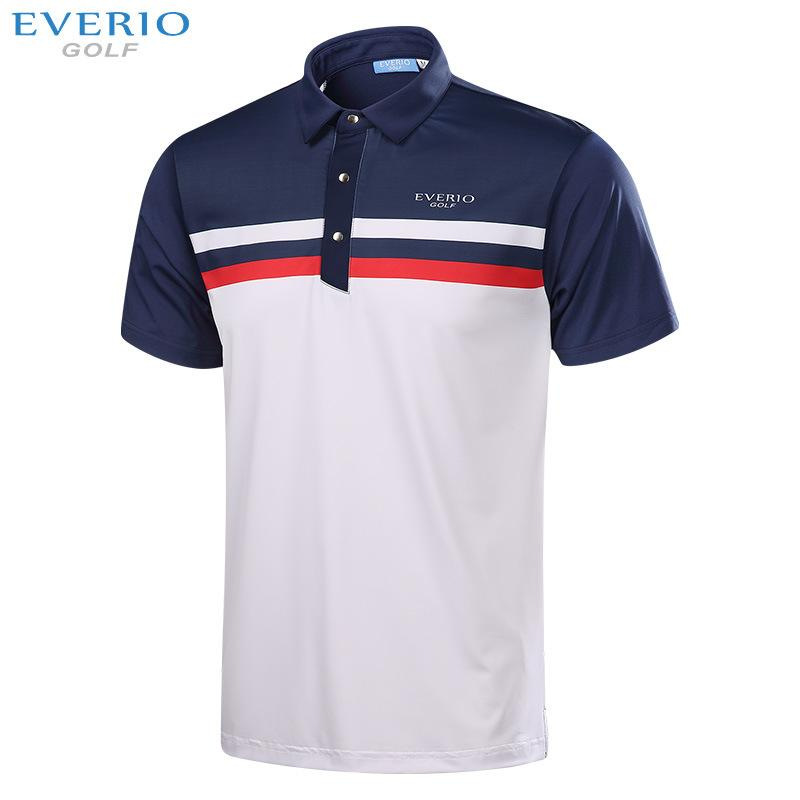 EVERIO 2017 men golf shirts summer short sleeve sports fabric T shirt golf Sportswear quick dry Breathable golf T shirt 5 colors