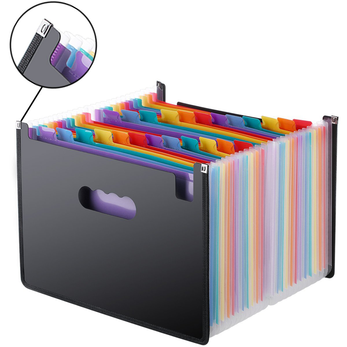 Расширение файла папка 24 карманов, черный аккордеон A4 папку