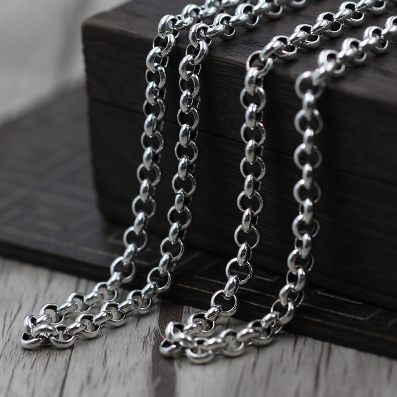 Thai silver jewelry retro old sweater chain necklace 5~7mm 925 sterling women 925 silver jewelry retro yaguang buddha joker sweater chain pendant thai men and women old grind arenaceous silver pendant
