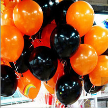 2014 Halloween balloon combo 10 inches 2.3 grams of inferior smooth, thick decorative balloons orange and black baloons