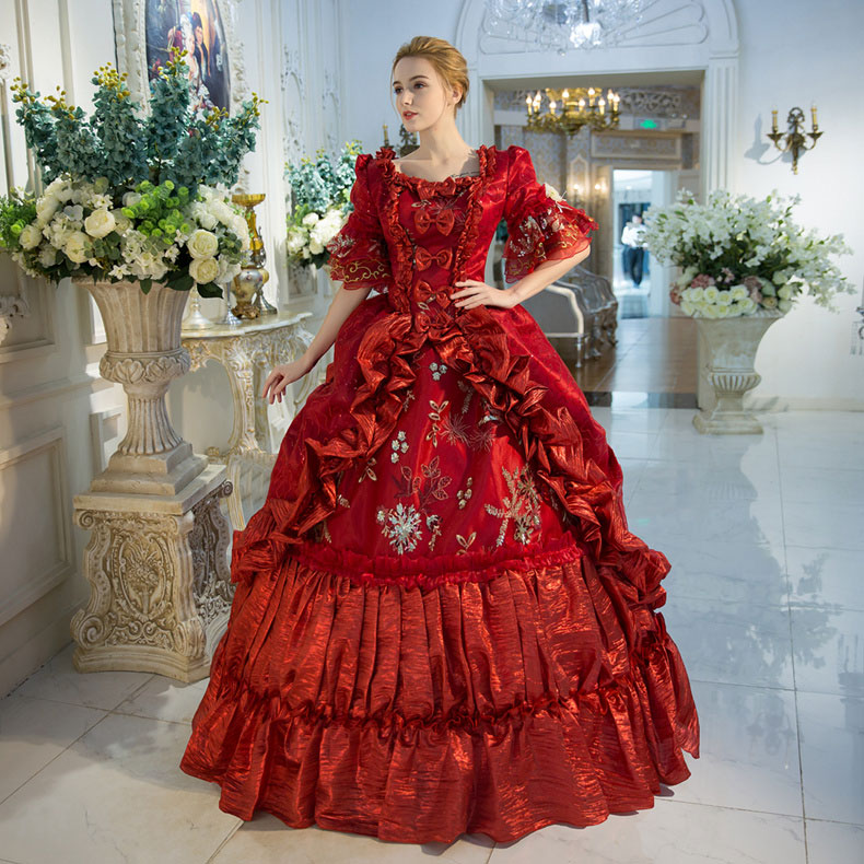 Gown Dressing Chauffaun: 2018 Royal Red Floral Print Medieval Victorian Dress Marie
