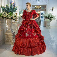 2018 Royal Red Floral Print Medieval Victorian Dress Marie Antoinette Masquerade Ball Gowns Drop Shipping