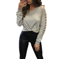 Grey T Shirt Women Long Sleeve Cold Shoulder Tops 2017 Autumn Loose Tees Sexy Ladies Hollow