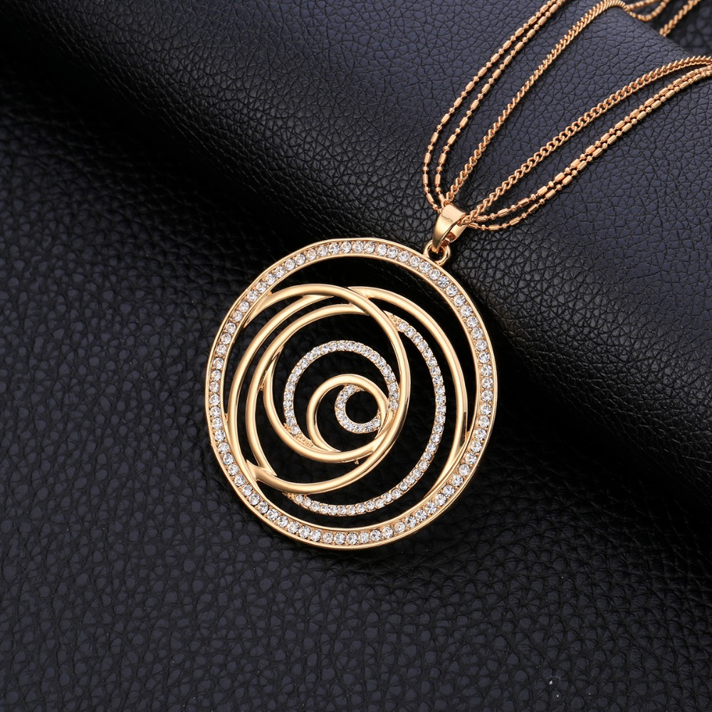 2018 Volution Flower Czech CZ Drilling Round Pendant Maxi Necklace For Women Gifts Elegant Long Necklaces Jewelry Accessories2018 Volution Flower Czech CZ Drilling Round Pendant Maxi Necklace For Women Gifts Elegant Long Necklaces Jewelry Accessories