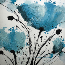 High Quality wall art painting canvas paintings Blue flowers oil on Canvas modern for  interior decoration support OEM