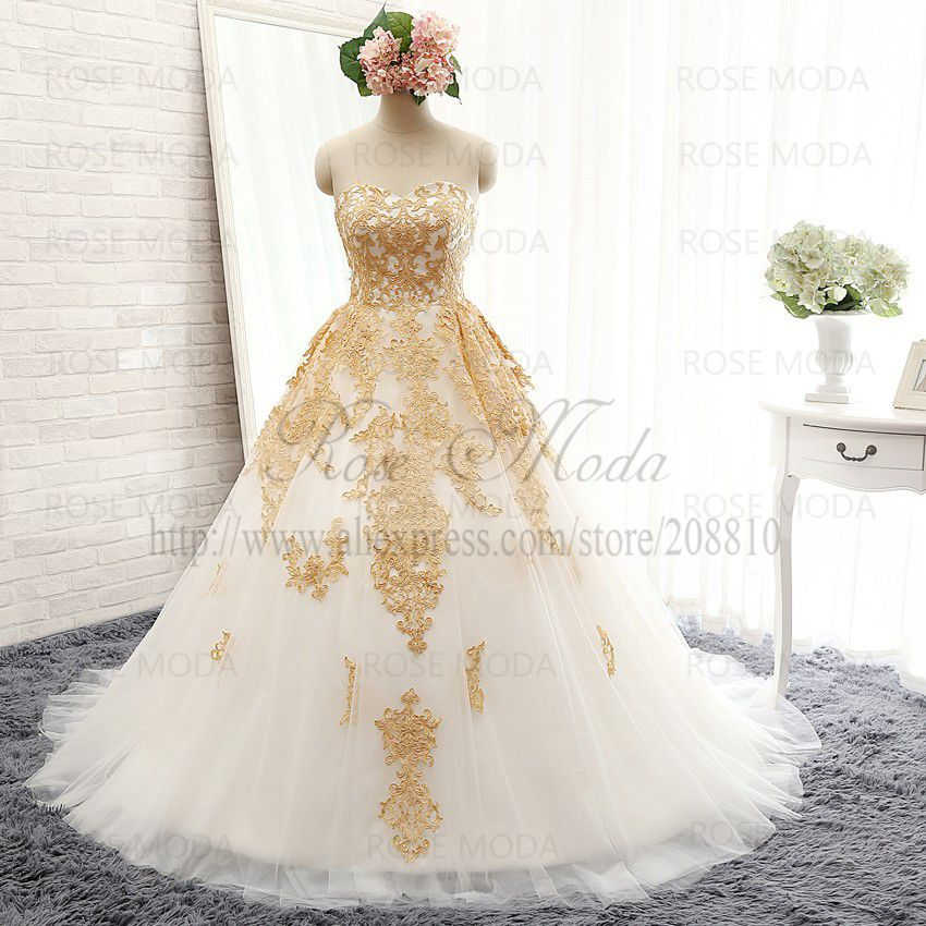 Aliexpress.com : Buy Luxury White and Gold Ball Gown Strapless ...