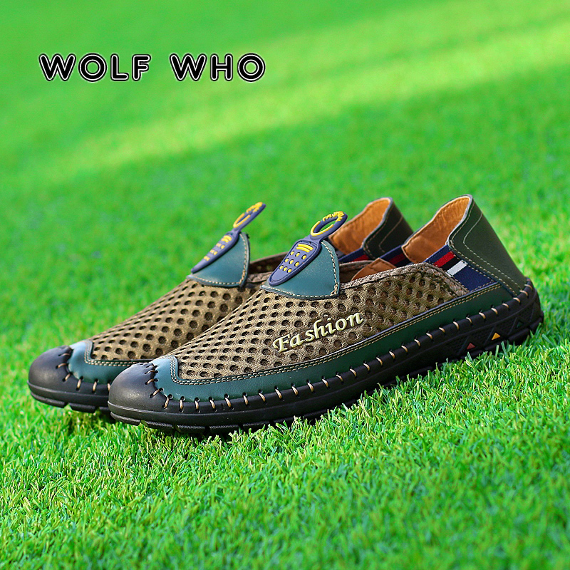 WOLF WHO Summer Men shoes Air Mesh New Slip On sneakers Male Loafer Fashion