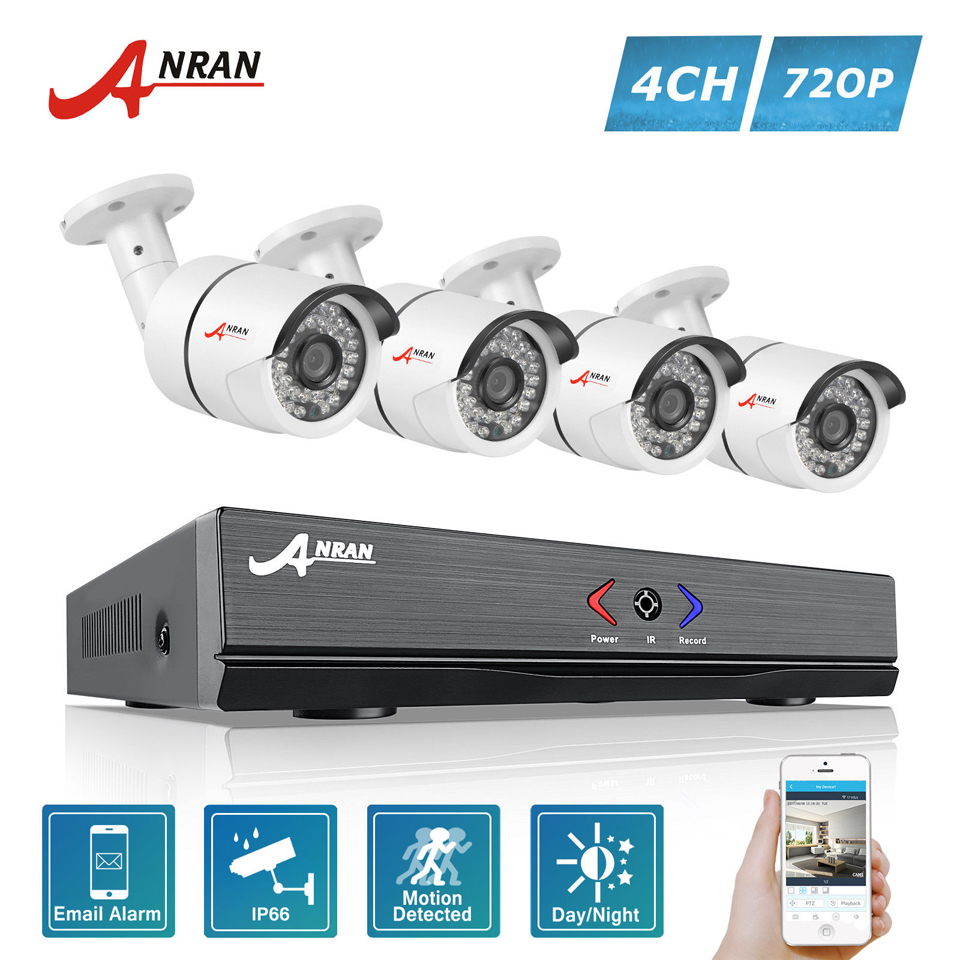 ANRAN Surveillance 4CH HD 1800N AHD DVR 1800TVL 720P 36IR Day Night Outdoor Waterproof Video font