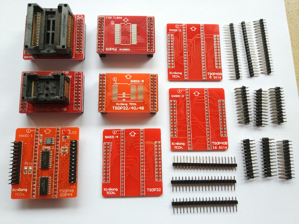 TSOP32/40/48 PSOP44 eeprom 8 adaptateurs pour tl866ii plus programmeur bios 51 MCU Flash usb programmeur