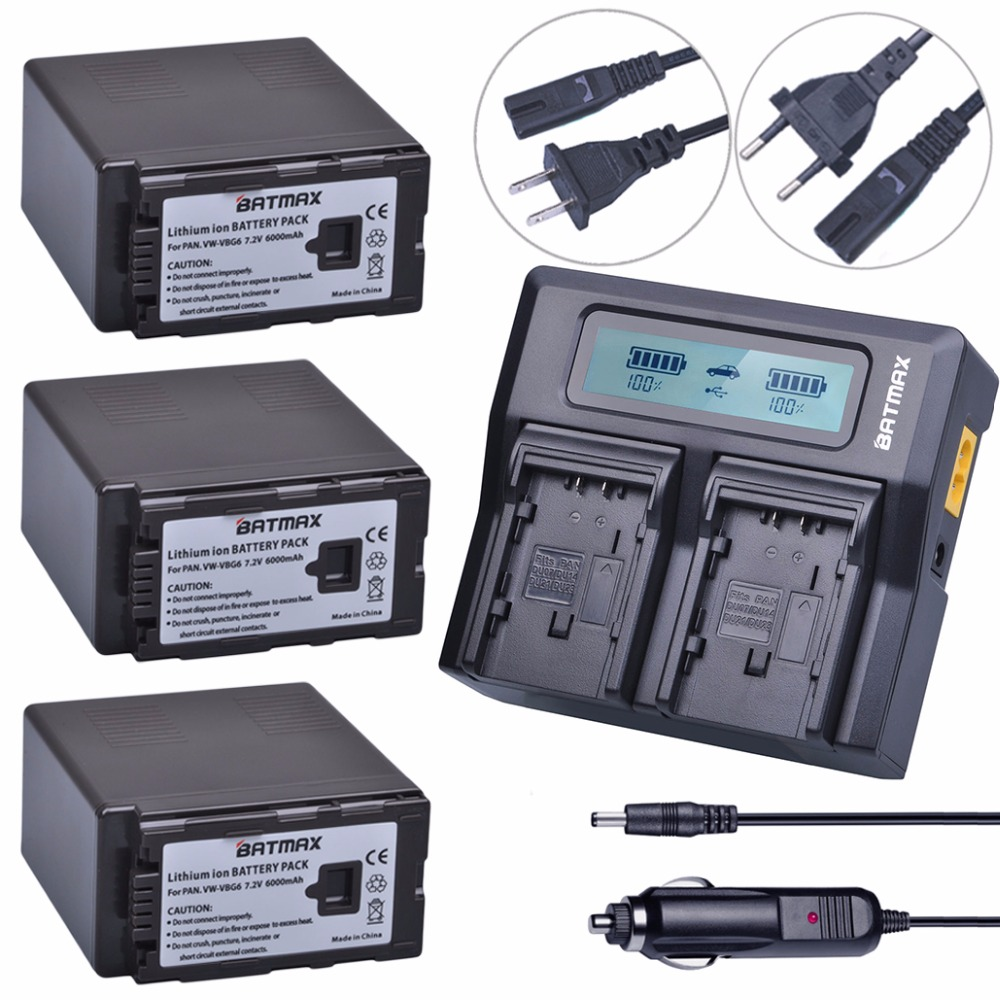 3 Pc 6000 mAh VW VBG6 VWVBG6 Rechargeable Caméra Batterie + Ultra Rapide LCD Double Chargeur pour Panasonic AG-HMC154ER HMC154GK AGHMC154P