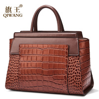 Qiwang Brand Luxury leather Bag Women Brown Tote Bag Amazing Quality Real Leather Handbags for Women Fashion Purse Bag Tote