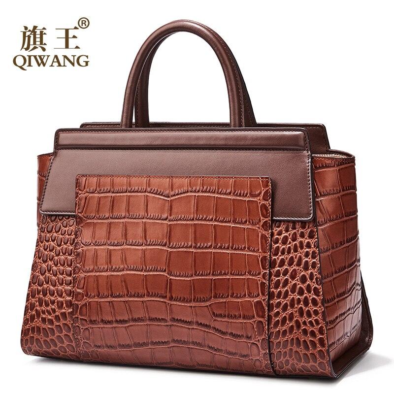 Qiwang Saco de couro Mulheres Marca de Luxo Sacola Marrom Incrível Qualidade Bolsas De Couro Reais para As Mulheres Bolsa Da Forma Saco de Tote