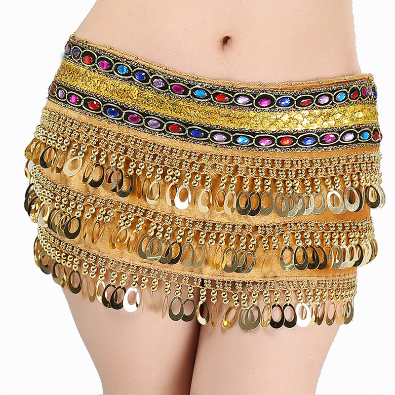 Belly Dancing Waist Chain Dance Performance Hip Scarf Belly Cheap Sparkling Dancing Costume Accessories For Women Sequins Belt