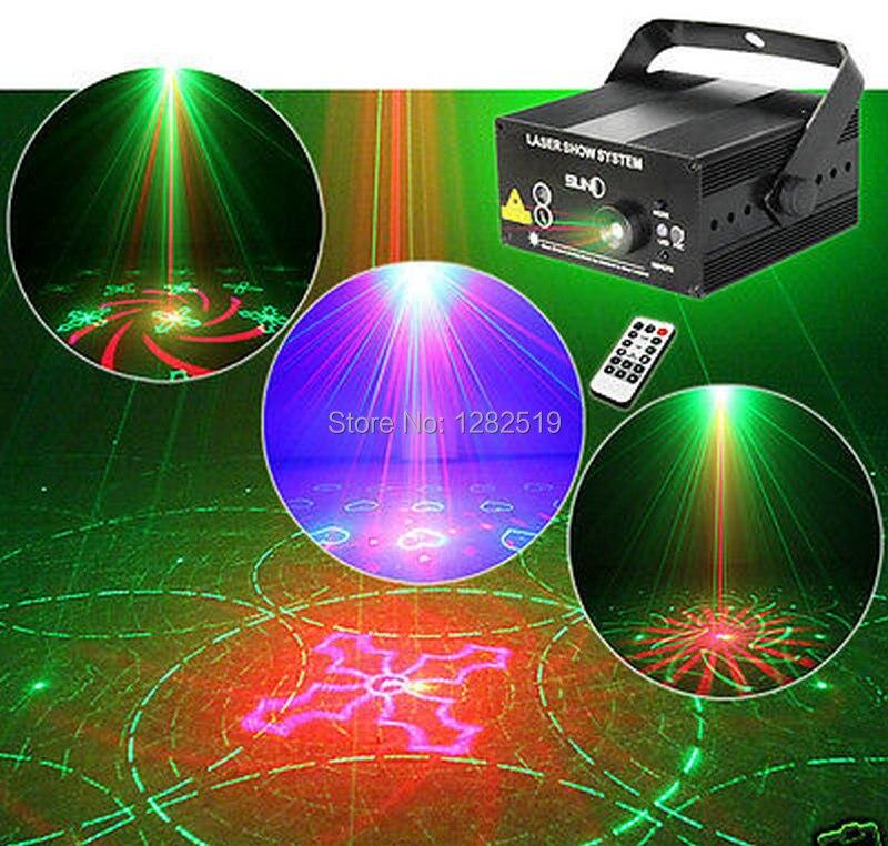 SUNY 3 Lens 40 Patterns RG Laser DJ show BLUE LED Stage Lighting Light Green Red