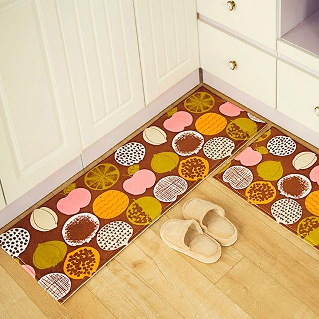 Anti slip Rugs Peach Orange Fruits Printed Suede Floor Mat Kitchen ...