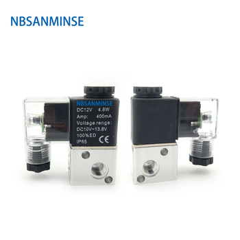 NBSANMINSE 2 Position 3 Way Solenoid Valve 3V 1 - M5 / 06 Normally Closed Pneumatic Control Valve  AirTAC Type 12v pneumatic electric solenoid valve 2 position 2 way normally closed air magnetic exchange valve